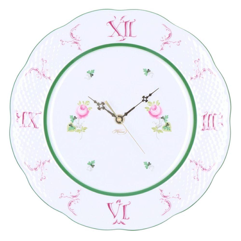 ヘレンド HEREND 皿時計 掛け時計 壁掛け時計 ウィーンの薔薇 VIEILLE ROSE D'HABSBOURG ヴィエイユ・ローズ・ハプスブルク VRH ウォールクロック 527