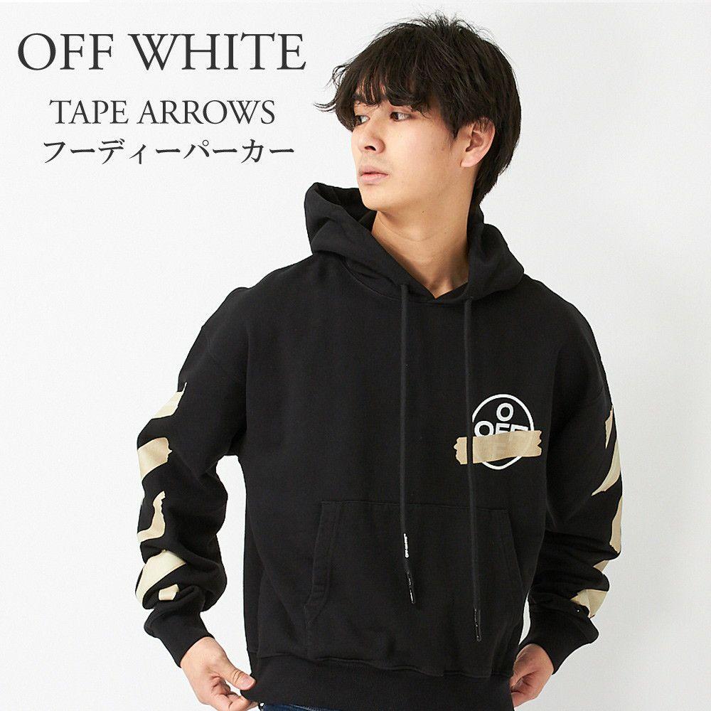 オフホワイト フーディーパーカー TAPE ARROWS OMBB037R20E30002 BLACK/BEIGE OFF WHITE