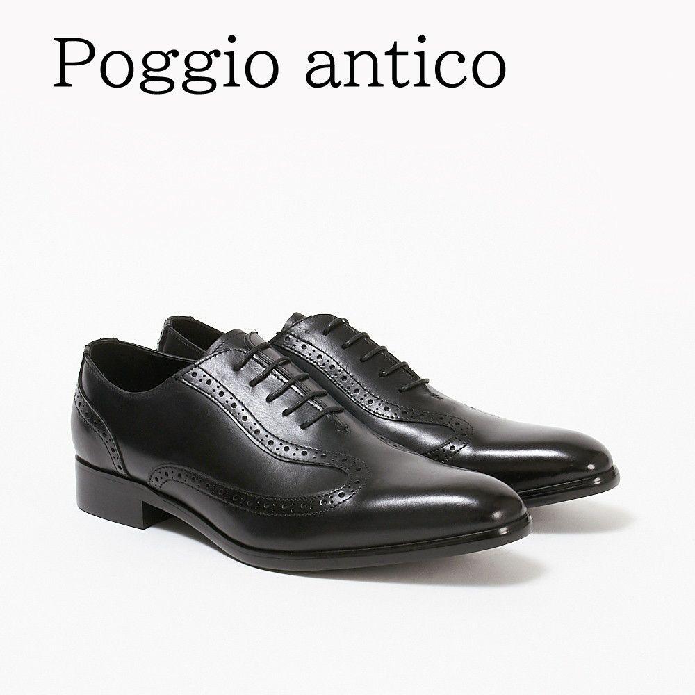 ポッジオ アンティコ 靴 メンズ ビジネスシューズ 【内羽根デザイン】 1903 BLACK POGGIO ANTICO