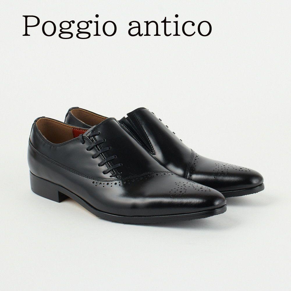 ポッジオ アンティコ 靴 メンズ ビジネスシューズ 【サイドレース】 1403 BLACK POGGIO ANTICO