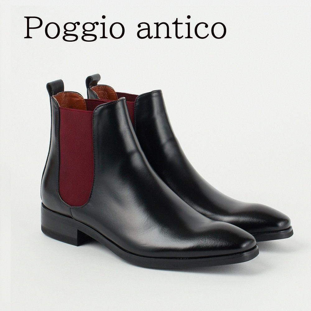ポッジオ アンティコ 靴 メンズ サイドゴアブーツ 1881 BLACK POGGIO ANTICO