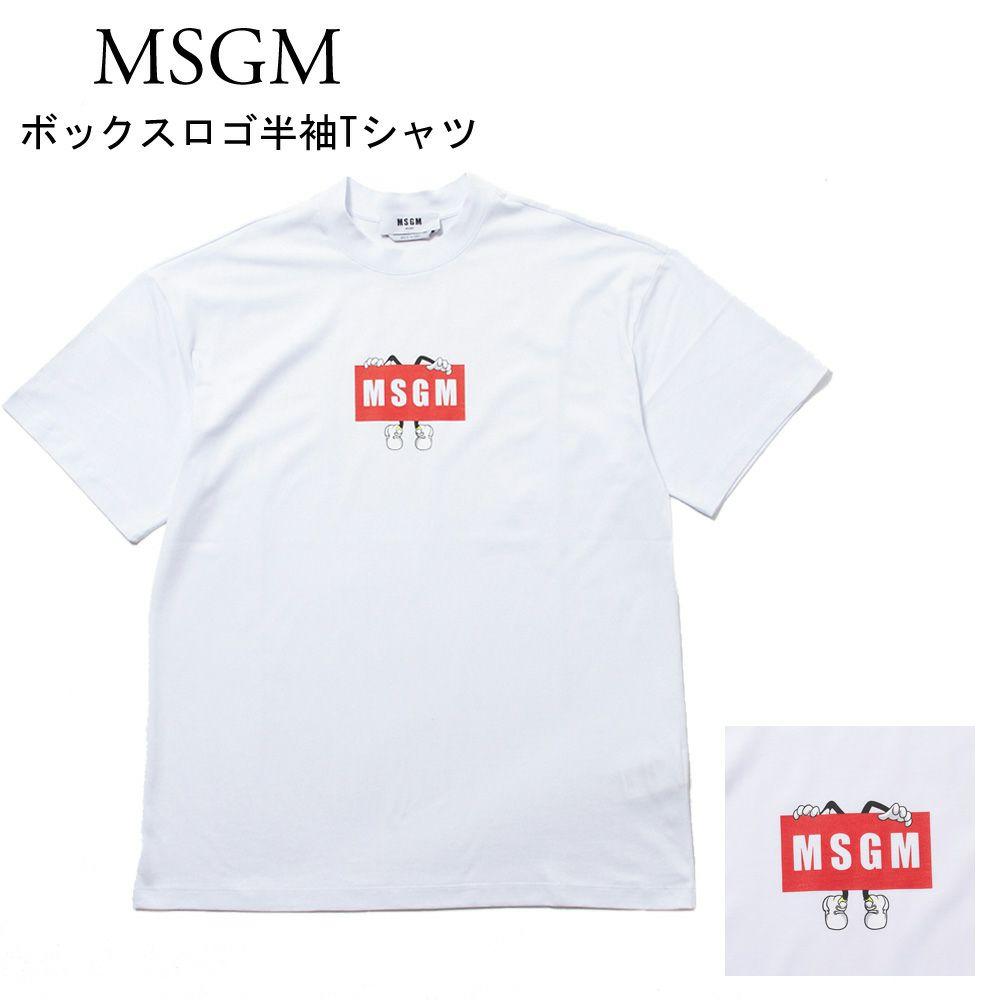エムエスジーエム ボックスロゴ半袖Tシャツ 3040MM108217098 WHITE(001) MSGM
